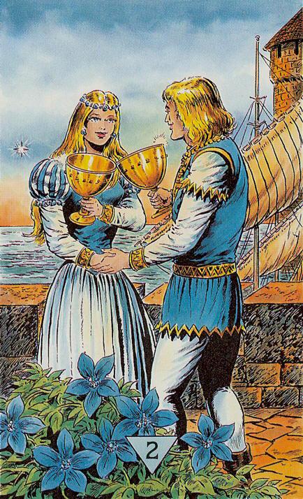 Двойка Кубков (Чаш): толкование значение карты Таро